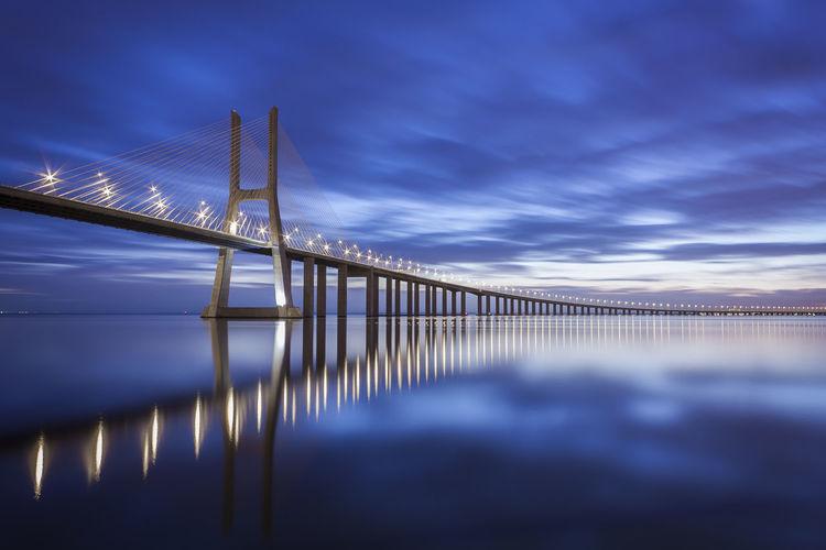 Suspension bridge over sea against sky during sunset