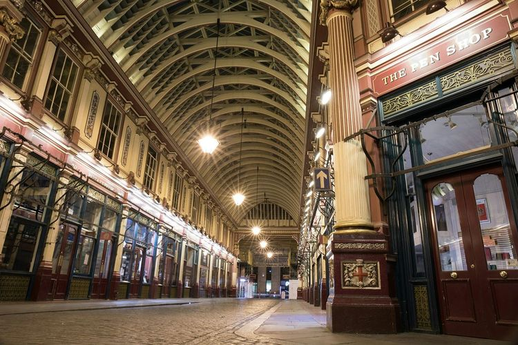 Leadenhall market. one night in July. Architecture Indoors  Built Structure No People Photo24 Street City Liveforthestory Canon5D @canonuk Canon5dmarkiv London Canonuk Architecture Canon LeadenhallMarket Indoors  Photographynews Night Illuminated Nightlife Canonphotography Light Trails Summer