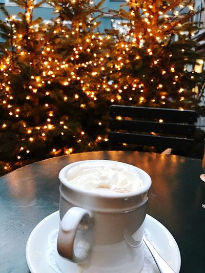 Always Be Cozy Drink Refreshment Coffee - Drink Food And Drink Table No People Tree Frothy Drink Close-up Christmas Freshness Day