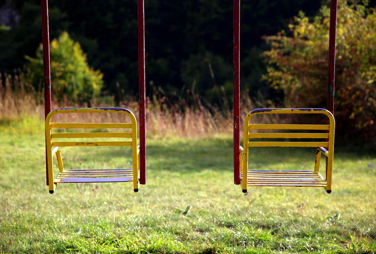 Colored swings in the nature