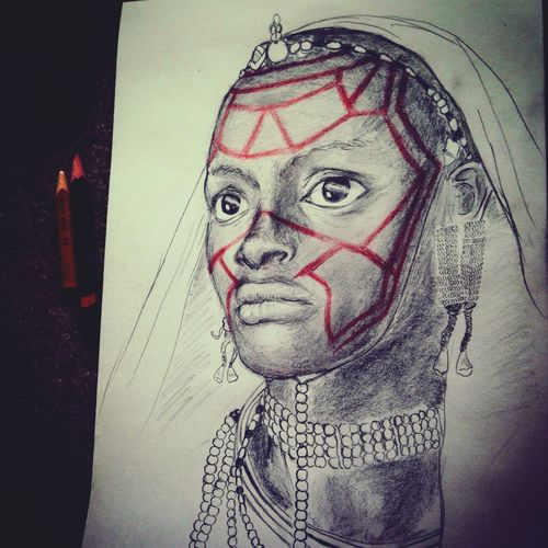 Jimmy Nelson が撮影した、 Maasai People マサイ族 の女性(多分)を見て、彼女の目にやられた。大地の目だ。どうしても彼女が描きたくて、普段描かない分野に挑戦した。出会えてよかった。 My Art Work Art Drawing My Drawing Earth Terra  Nature