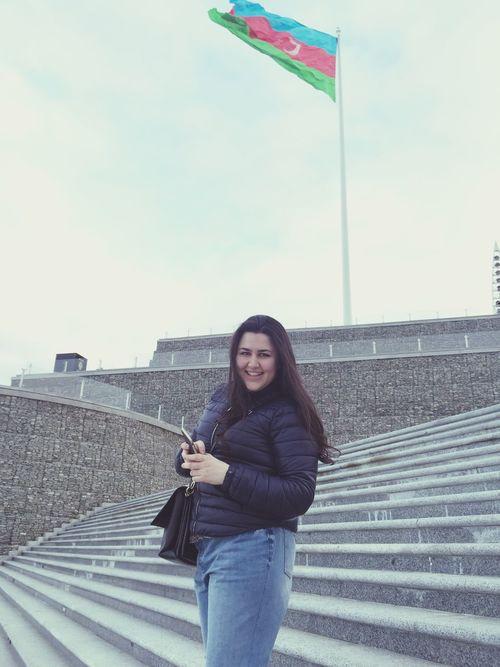 I am happy in Baku Iamhappy Iamhappytohaveyouinmylife Azerbaycan Baku Baku♡♥ Dagustupark Flag Square In Baku National Flag Square