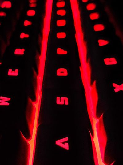 Keyboard Red Number No People Illuminated Indoors  Close-up Communication Text Technology Black Background Full Frame Computer Letter Keyboard Capital Letter Lighting Equipment
