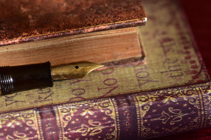 Books Old Books . Library. Science . College. Books . Reading .School .Multicolors . Fantasy Picture . Retro Close-up Education Ink Old Books Pen Retro Style
