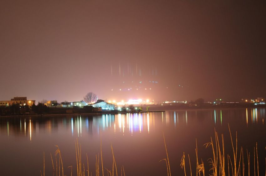 Nightphotography Night Lights Lake View
