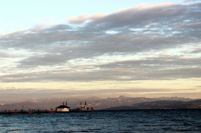 Sea Sunset Bodensee Bodensee Lake Lake Mountain Mountains And Sky Cloud - Sky Sea And Sky