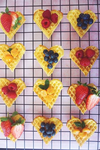Waffles Berries Berry Berry Fruit Waffle Food Food And Drink Indoors  Freshness No People Fruit Choice Directly Above Variation In A Row Sweet Food High Angle View Ready-to-eat Indulgence Shape Large Group Of Objects