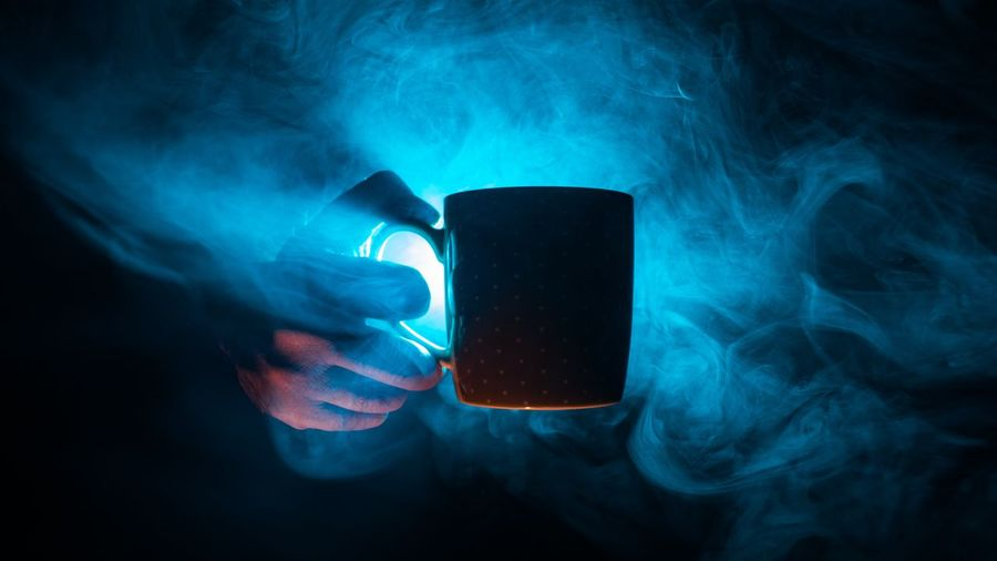 Cup Of Tea Cup Of Coffee Tea Coffee Atmospheric Drink Technology Black Background Smoking - Activity Smoke - Physical Structure Studio Shot Mixing Close-up Beverage Black Coffee