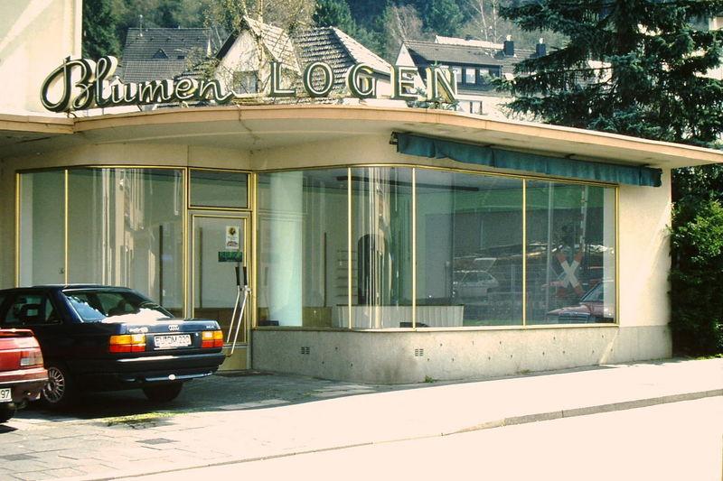 50er Jahre 50s Architecture Blumengeschäft Door Entrance Fifties Glass Glass - Material House Transparent Window