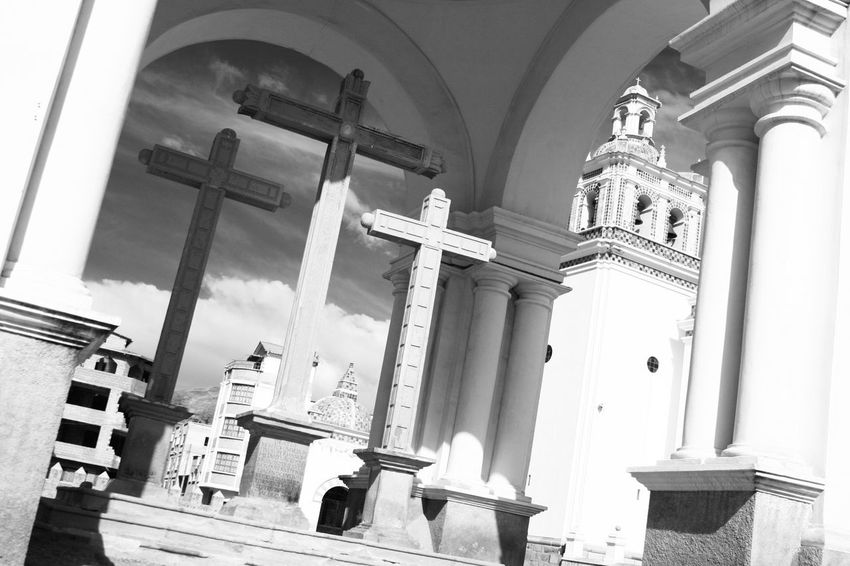 Copacabana Bolivia Cross Architectural Column Architecture Black And White Building Exterior Built Structure Low Angle View No People Place Of Worship Plaza Religion Sky South America Spirituality
