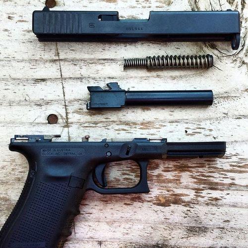 Disassembled Glock 17 Gen4. GLOCK Glock17 Gen4 9mm Gun Pistol Handgun Disassembled
