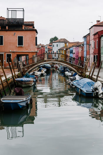 Venice Venice, Italy Water Nautical Vessel Building Exterior Transportation Architecture Built Structure Reflection Mode Of Transportation Moored Waterfront Canal Building Nature Day City No People Sky Residential District Bridge Outdoors Wooden Post Rowboat Arch Bridge