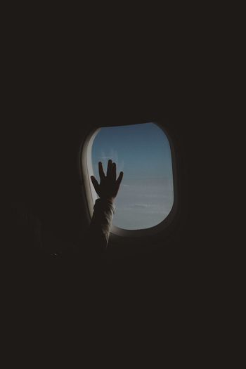 Out of town Plane Familytrip Hope Silhouette Hand Window Human Hand Copy Space Nature Dark Indoors