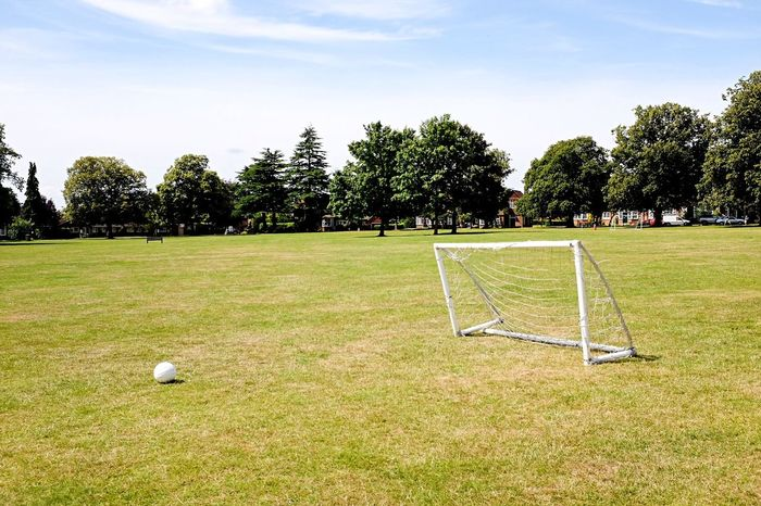 The beautiful game. Football Goal Park Summer Hertfordshire