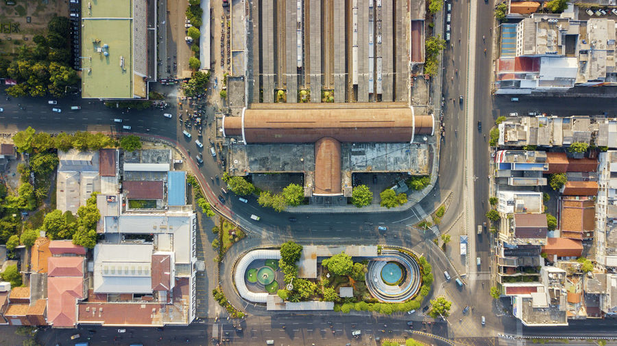 Aerial View Architecture Building Building Exterior Built Structure Car City Day High Angle View Industry Land Vehicle Mode Of Transportation Motion Motor Vehicle Nature No People Outdoors Transportation Water