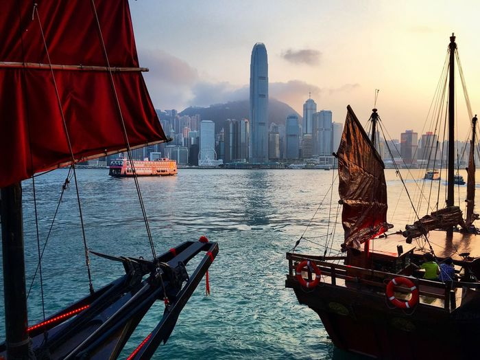 Sunset on HongKong . Sea And Sky Boat Market Bestsellers October 2016 My Year My View