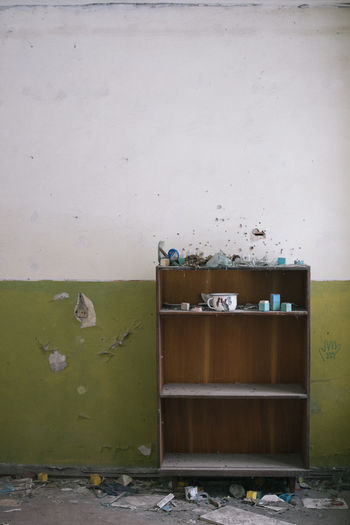 View of shelf in abandoned building