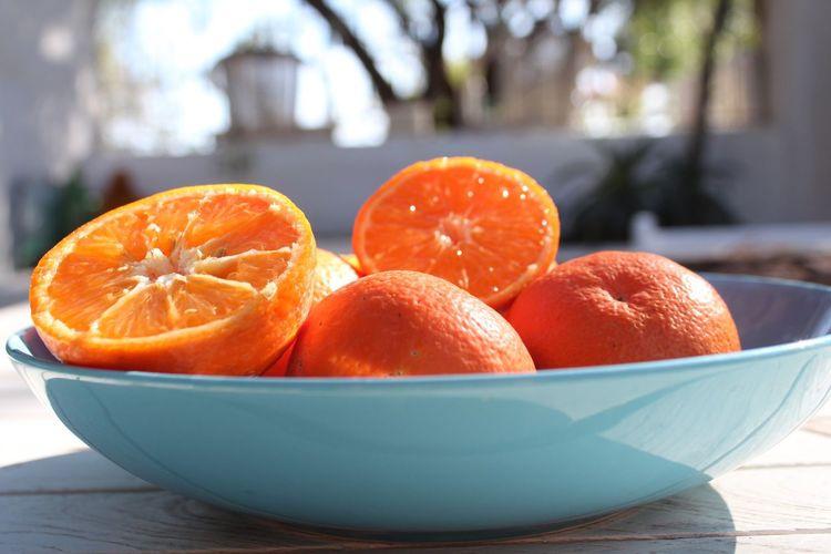 Fruit Citrus  Oranges Mandarins Clementines Table Healthy Eating Freshness Citrus Fruit Close-up Sunshine Garden Plate Snack Healthy