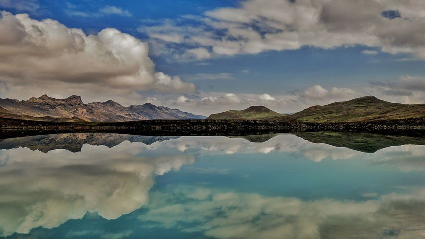 Learn & Shoot: Balancing Elements Reflection Lake Iceland Mountains Clouds Nature Blue Sky Clearwater Blue Clouds And Sky Vacation Iceland_collection Iceland Memories Iceland Trip Reykjavik Landscapes With WhiteWall light and reflection Finding New Frontiers The Traveler - 2018 EyeEm Awards