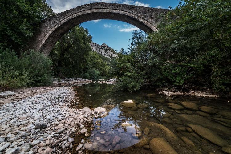 Arch bridge over river stream amidst trees