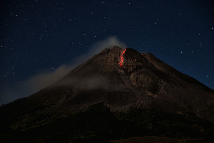Mount merapi erupts with high intensity at night during a full moon
