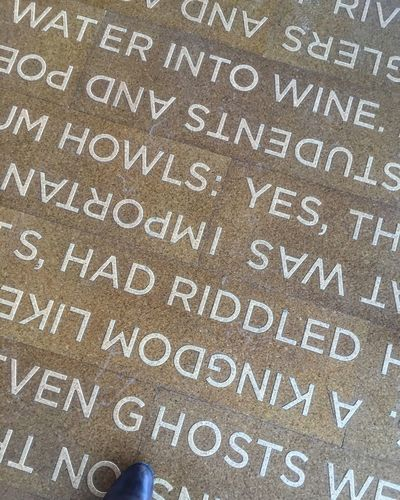 Words on a floor Floor Ghosts Howls KINGDOM One Foot One Shoe Riddled Text Water Western Script Words