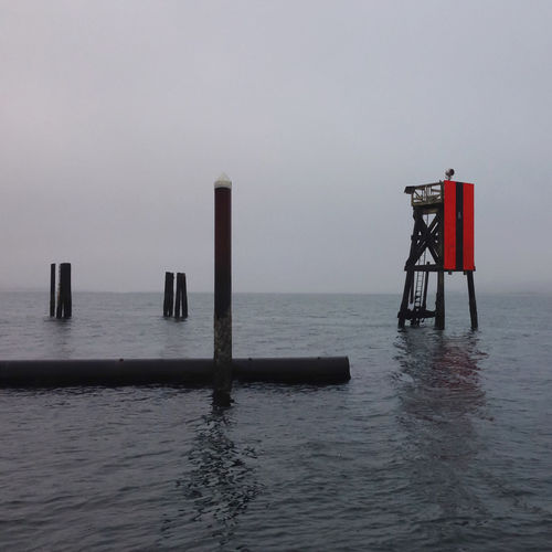 IPhoneography Fog Coos Bay Oregon Coast Water Pilings Channel Marker Marine Minimalist IPS2016Winter