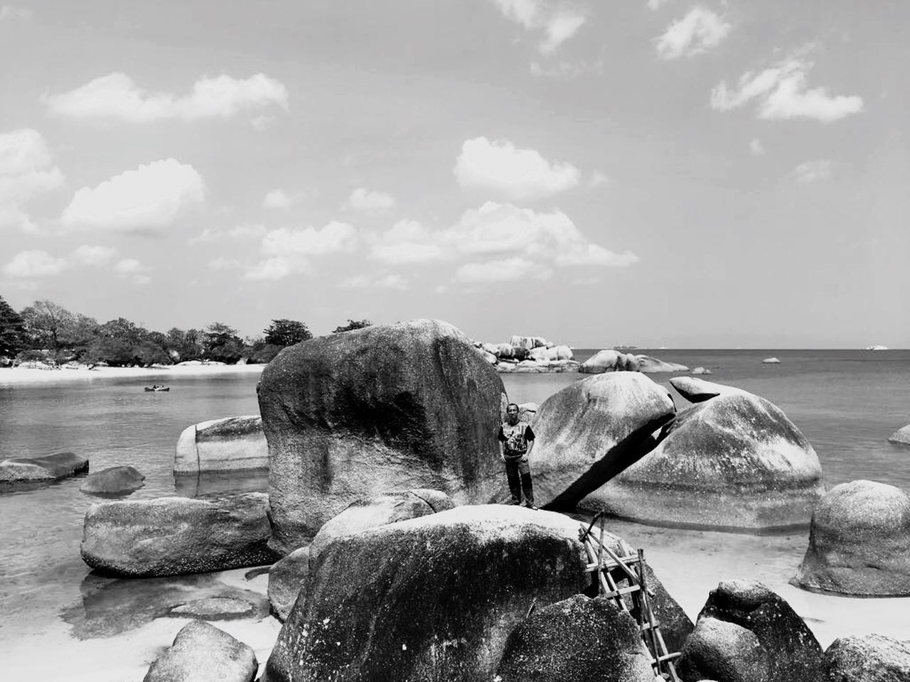 sky, water, cloud - sky, nature, day, sea, land, beauty in nature, rock, scenics - nature, solid, rock - object, no people, outdoors, tranquility, beach, tranquil scene, tree, non-urban scene