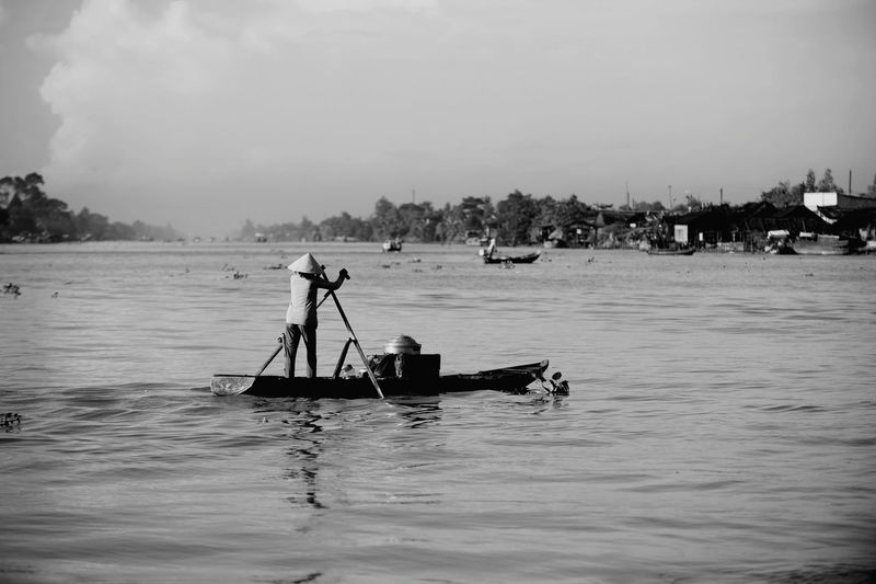 Me Kong Mekong Delta Mekong River Water Reflections Clouds And Sky Light And Shadow Black And White