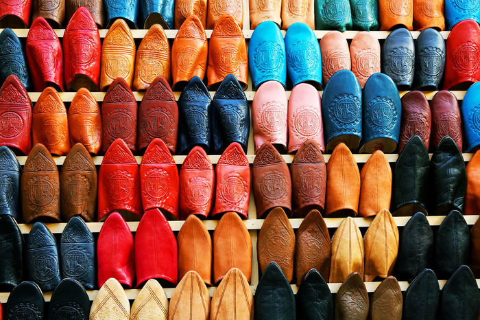 Arrangement Article Backgrounds Choice Colourful Day Full Frame In A Row Indoors  Leather Merchandise Morocco Morocco Memories Morocco Travel MoroccoTrip Multi Colored No People Sale Sleepers Souk Tanneries Of Fes Variation