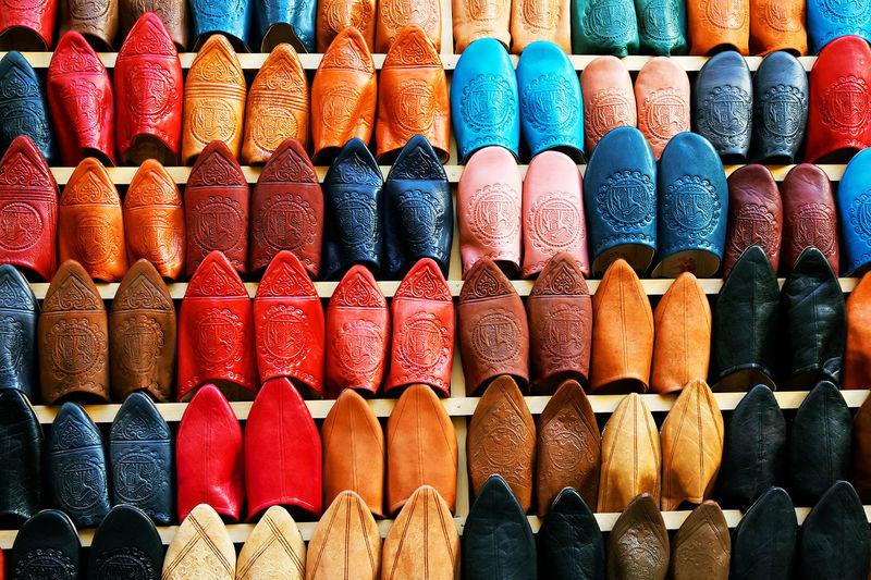 Full frame shot of footwear for sale at market