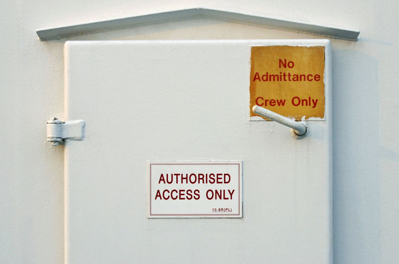 crew only door on a ferry Entrance Ferry Ferryboat Forbidden Locked Sign Access Accessibility Communication Crew Only Door Iron - Metal Message No Admittance No People Outdoors Protection Safety Ship Text Warning Sign Western Script White Color