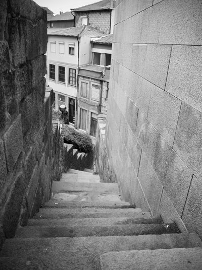 BeW City Cityscape Oporto, Portugal Alley Architecture Black And White Building Building Exterior Built Structure City Day Direction Empty Footpath House Long Monochrome Narrow No People Old Outdoors Residential District Staircase Steps And Staircases The Way Forward Wall