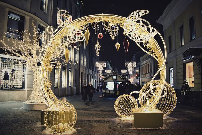 Christmas decorations Illuminated People Outdoors Arch Lights Night Lights Christmas Lights Street Photography Nightphotography Night Photography Night City Street Illumination Christmas Decorations Decoration Christmas Ornament Christmas Around The World Paint The Town Yellow
