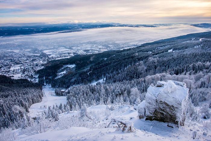 Winter views from Jested, Liberec, Czech Republic City In Clouds Czech Czech Republic Magical Snow ❄ View Winter Clouds Countryside Jested Snow Sunrise Winter Wonderland
