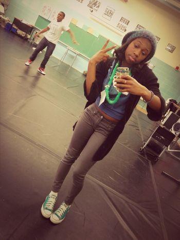 In the dance room earlier
