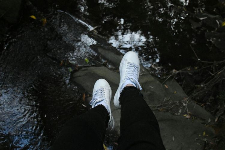 hanging over the river Low Section Personal Perspective Human Leg Shoe Human Body Part Outdoors Water People Adults Only Adult Day River White Whiteshoes EyeEmNewHere
