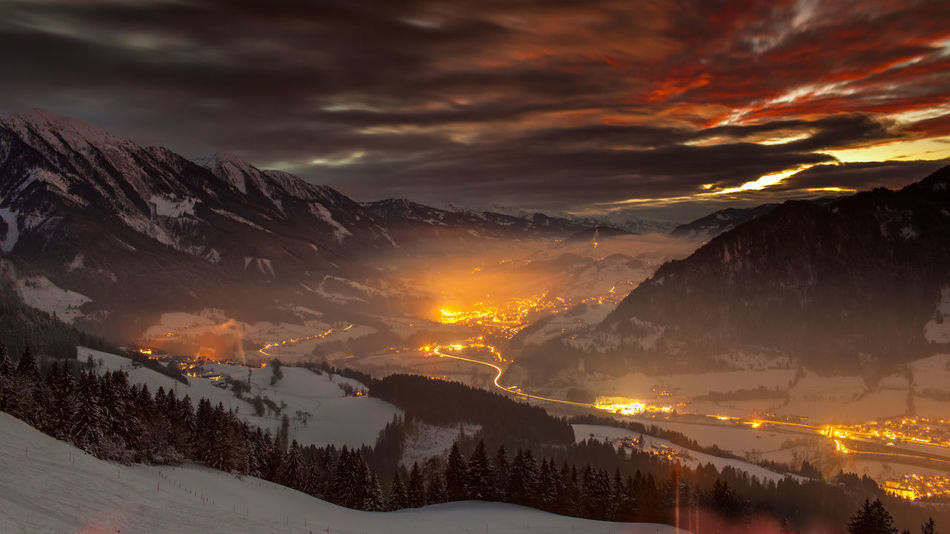 Alps Austria Beauty In Nature Fog Landscape Mountain Mountain Range Nature Night No People Scenics Sky Slope Snow Sunset Travel Travel Destinations