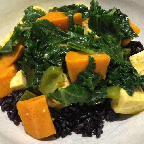 Cooking Life Vegetables Vegetarian Food Kale Tofu Yam Curry Black Rice