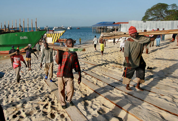 Zanzibar, Tanzania - February 16, 2008: African stevedores unload a timber ship in the harbor of Zanzibar. Water Beach Group Of People Men Real People Sea Day Sand Stone Tawn Stone Town Zanzibar Stone Town District Africa Eastern Africa Tanzania TANZANIAN Africans African Loader Porter Heaver Work Working Worker Harbor Unloading