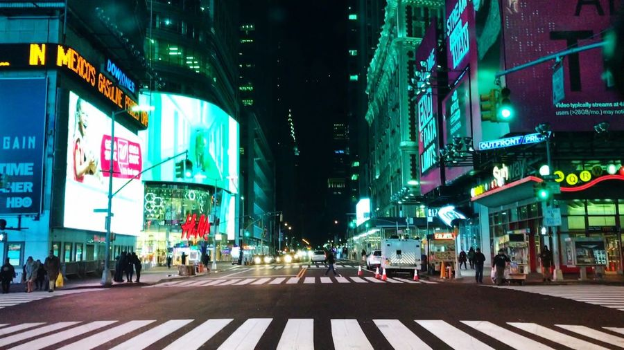 Streets Of New York Night Shot Time Square Manhattan Buildings Lights Tall Buildings Empty Roads Dark Cold Color IPhone7Plus IPhone Photography Apple