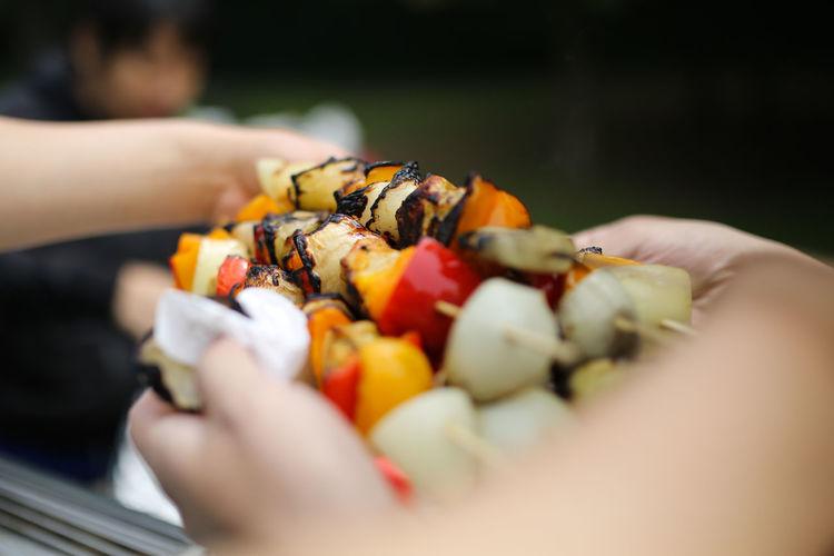 Close-up of kebab in skewers