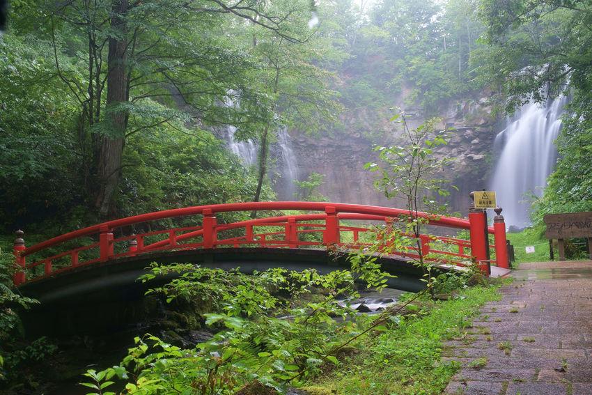 Waterfall in Takinosuzran Koen, Hokkaido, Japan ASIA Bridge Hashi Hokkaido Japan Red Taki