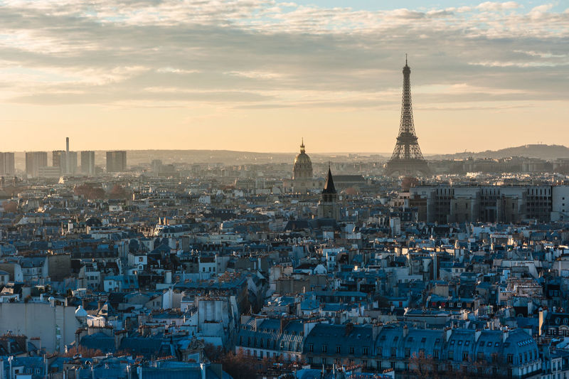 Paris skyline sunset view with the Eiffel tower from the roof of notre-dame de Paris Aerial Shot Aerial View Cityscape Eiffel Tower Paris Roofs Roofs Of Paris Skyline Urban Market Bestsellers October 2016