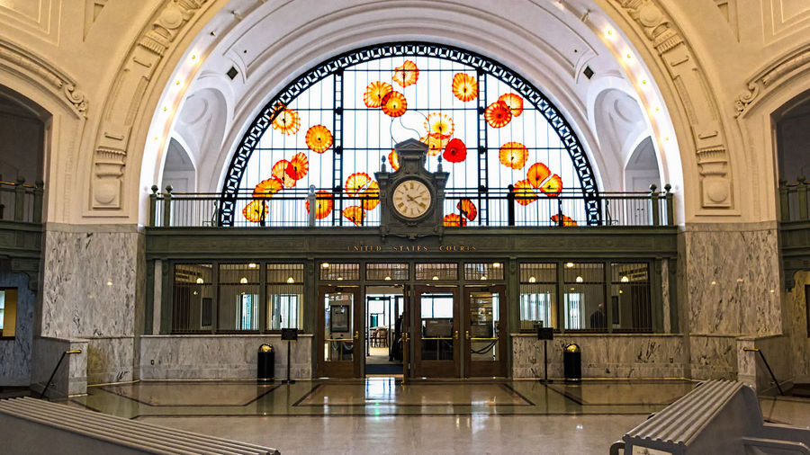 Arch Architectural Feature Artistic ArtWork Blown Glass Court Of Justice Foyer Train Stations