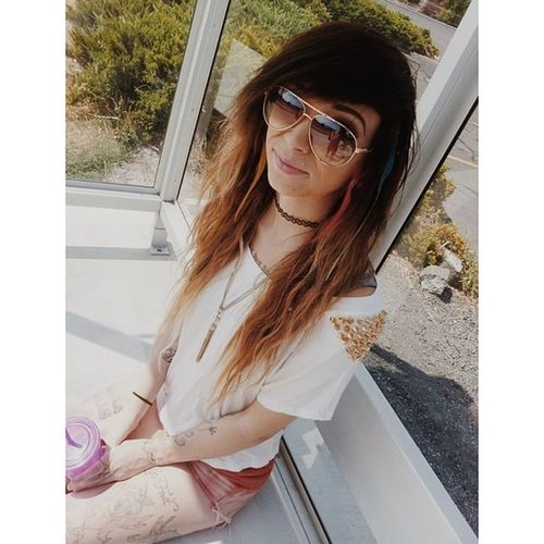 Ootd Hipster Hipstergirl Ombrehair ombre red gold spikes chocker makeup catseye lashes headchain longhairdontcare lesbianswithink lesbianswithtattoos tattoos girlswithink girlswithgauges girlswithplugs girlswholikegirls lesbian inkedlesbians sunglasses happygirl taken inlove