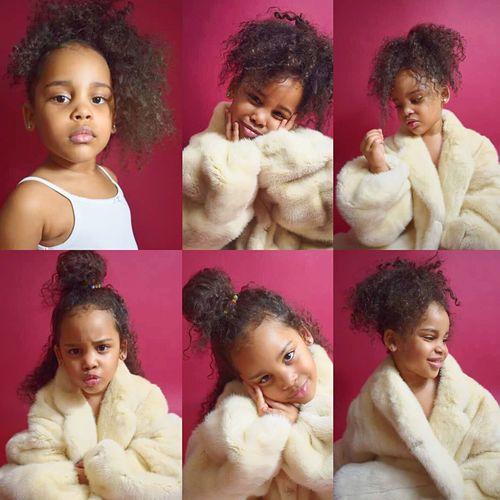 Anina Childmodel MixedchildChild Childhood Girls Portrait Curly Hair Multiple Image