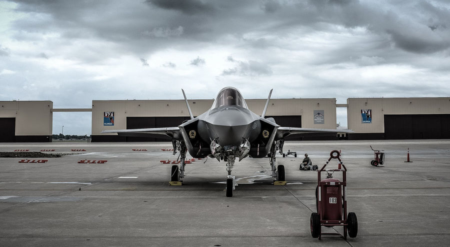Air Force Airplane Airport F-35 Fighter Plane Lightning Lockheed Martin F-35 Military Transportation Travel