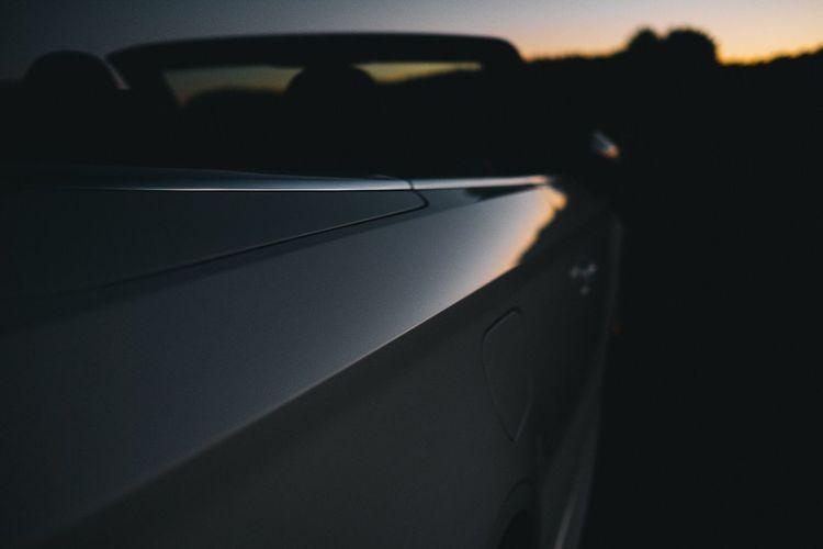 Close-Up Of Convertible Car During Sunset