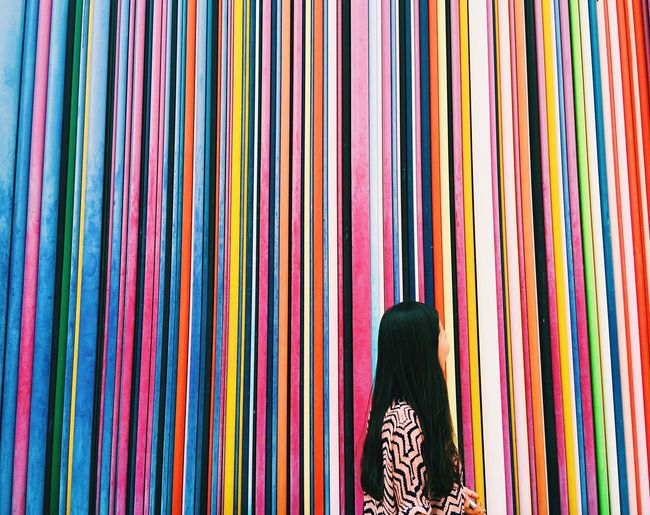 [ Faceless ] Lost in the rainbow. Can you see and imagine her smile? Colors Colorful Model Fashion Streetphotography Architecture Art EyeEm Best Shots Vscocam Color Portrait Pattern Pattern Pieces Pattern, Texture, Shape And Form